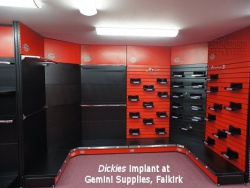 Slatwall and Slatwall fittings at Dickies Implant at Gemini Supplies, Falklrk