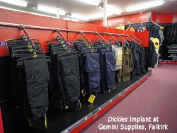 Garment Rails for Dickies Implant at Gemini Supplies, Falklrk
