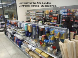 Gondola Peg Bays and Shop Shelving Peg Wall for in The Arts, London, Centreal St. Martins Student Shop