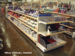 Gondola Bays and Plain Shelving Wall Bays For in Millway Stationery, Stansted