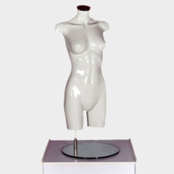 Female Torso Headless Mannequin Gloss White