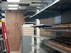Plain Shop Shelving Wall and Bakery Shelving for Mendy's Kosher Superstore in Edgware
