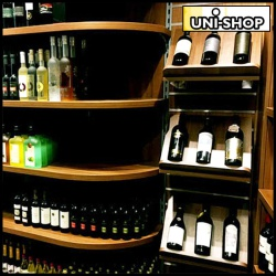 Wine/Spirits display in Hadar Kosher Supermarket