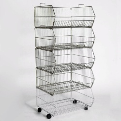 Retail Stacking Baskets With Wheels (600MM Wide X5)