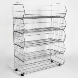 Retail Stacking Baskets With Wheels (1000MM Wide X5)