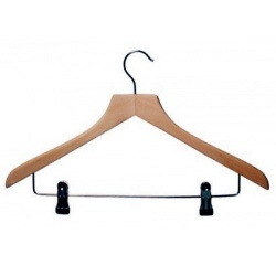 Wooden Suit Hangers With Clips (Box Of 100)