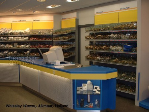 Retail Counter with peg board and display section at Wolsely Wasco, Alkmaar, Holland