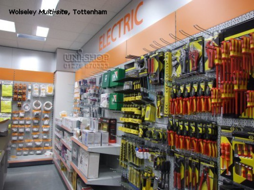 Peg Wall Bay Fittings and Shelves in Wolseley Multi-site, Tottenham
