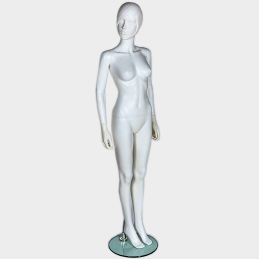Lady Abstract Mannequin Moulded Hair Matt White