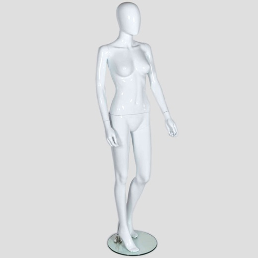 Female Egg Head Shop Mannequin Gloss White