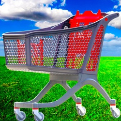 Recyclable Plastic Supermarket Trolleys