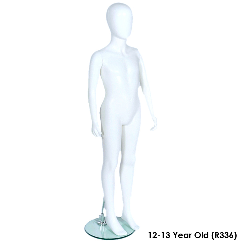 R336 Child/'s Full Body Mannequin Egg Head Age 12-13 Matt White