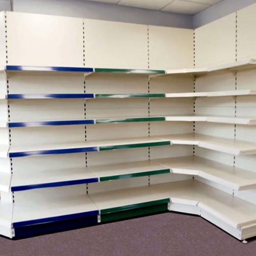 Image of Retail Wall Shelving - Cream/Silver Bay & 1x47cm 2x37cm 2x30cm Shelves