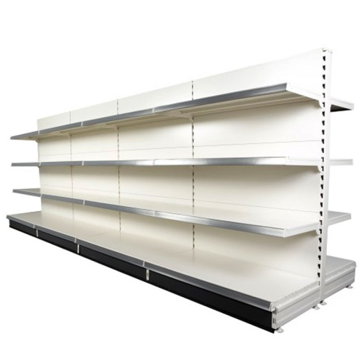 Image of Retail Gondola Shelving - Cream/Silver Plain Bay & 2x37cm 6x30cm Shelves