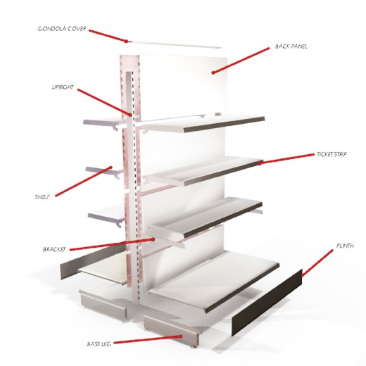 Uni-Shop (Fitting) Ltd - Retail Gondola Shelving - Cream/Silver Plain Bay & 2x37cm 6x30cm Shelves